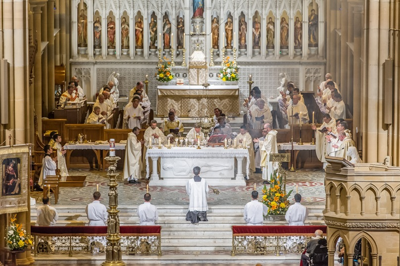 St Mary's Cathedral provided a picturesque backdrop for the ordination of Sydney's newest priests on 31 October. Photo: Giovanni Portelli